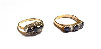 Lot 69 - A sapphire and diamond ring, stamped '585', finger size P and a 9 carat gold sapphire and...