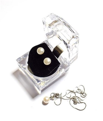 Lot 70 - A diamond and cultured pearl pendant on chain, pendant length 2.2cm, chain length 40.5cm and a pair