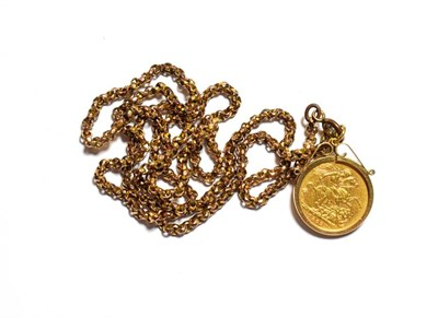 Lot 74 - An 1899 gold sovereign, in a 9 carat gold mount, on a plated chain, chain length 70cm
