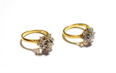 Lot 75 - Two 18 carat gold diamond cluster rings, finger size L and M