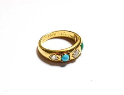 Lot 77 - A Victorian turquoise and diamond ring, stamped '18', finger size N
