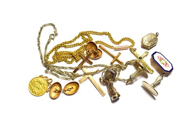 Lot 86 - A collection of jewellery including two 9 carat gold crosses, a cross stamped '18CT', an...