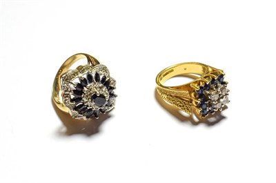 Lot 87 - An 18 carat gold sapphire and diamond cluster ring, finger size I and a 9 carat gold sapphire...
