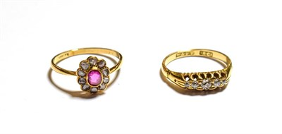 Lot 88 - A diamond five stone ring, stamped '18CT', finger size K1/2 and a pink sapphire and diamond cluster