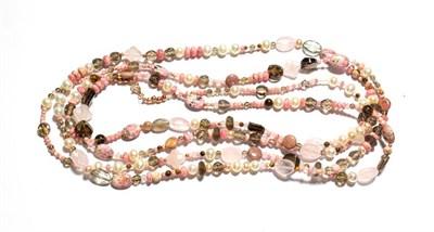Lot 89 - A multi-gemstone bead necklace, cultured pearls spaced by rhodochrosite, rose quartz, smoky quartz