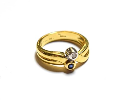 Lot 91 - An 18 carat gold sapphire and diamond ring, finger size N