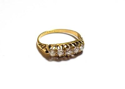 Lot 93 - An 18 carat gold diamond five stone ring, finger size K