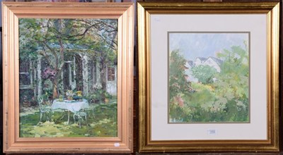 Lot 1002 - V Naylan, garden scene, oil on canvas, together with an unsigned mixed media on paper, country...