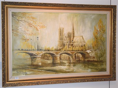 Lot 1003 - Ben Maile (b.1922) Notre Dame from the Seine Signed, oil on canvas, 75cm by 120cm  Artist's...