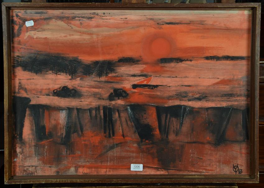 Lot 1006 - British school (20th/21st century) Abstract landscape Monogrammed YO and dated (19)63, mixed media