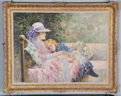 Lot 1007 - P Camta (Contemporary) mother and child seated in a garden, signed oil on canvas, 74cm by 100cm