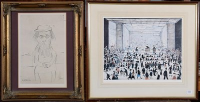 Lot 1009 - After Stephen Lowry RA (1887-1976), ''The Auction'', reproduction print, numbered 709/850, with...