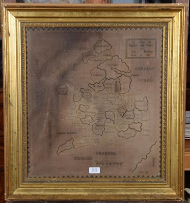 Lot 1012 - A 19th century framed map sampler worked by Ann Hampson, 1837, depicting England and Wales, 53cm by