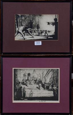 Lot 1014 - A Frank Brangwyn etching and another, 14cm by 24cm and 18cm by 25cm (2)