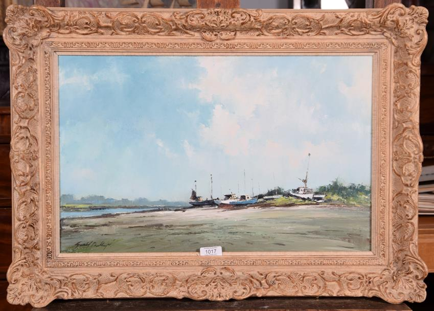 Lot 1017 - Gerald Phillips (Contemporary) Lelant Estuary Signed, inscribed and dated 1984, oil on canvas, 34cm