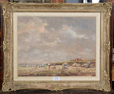 Lot 1019 - John Horwood (b.1934) Figures on a beach with parasols, signed, indistinctly dated, oil on...