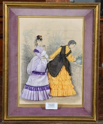 Lot 1020 - A 19th century French fashion print from La Mode Illustree, later dressed in fabrics by Mary...