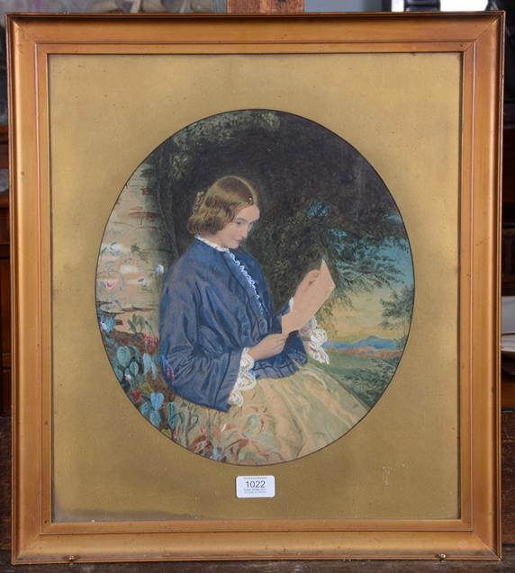 Lot 1022 - 19th Century English School Portrait of a lady seated reading a letter Mixed media on paper,...