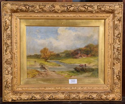 Lot 1023 - James Peel RBA (1811-1906), Cattle by a river crossing, signed oil on canvas, 24.5cm by 34cm