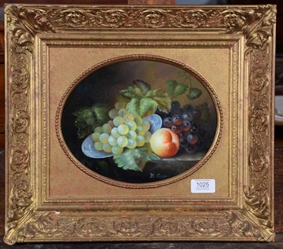 Lot 1025 - R Casper (20th century) Contemporary still life, signed, oil on canvas, oval 20cm by 25cm