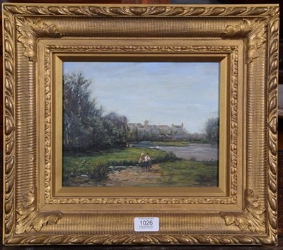 Lot 1026 - Dupres (20th century), River landscape with figures, signed, oil on panel, 20cm by 25cm