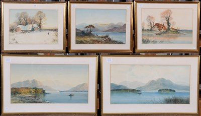 Lot 1030 - A small group of watercolours by W Baker, to include fishing on the loch and country cottages...