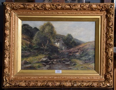 Lot 1031 - Harry James Sticks (1867-1938), In Weardale Valley, Cottage on the moor, signed, oil on canvas,...