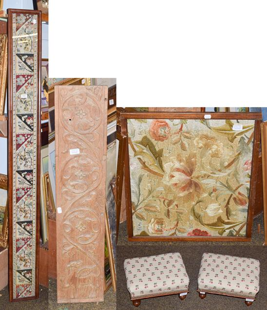 Lot 1032 - A carved oak panel in the style of Ritchie of Iona, a framed embroidered panel, a pair of...