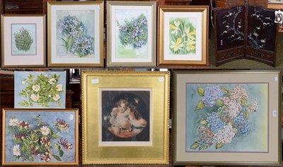 Lot 1033 - A small folding lacquered and applique screen; a large watercolour of hydrangea by Patricia...