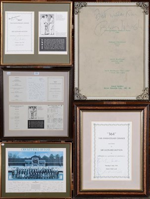 Lot 1034 - Sir Leonard Hutton autograph items including anniversary dinner menus and cricket hall of fame...