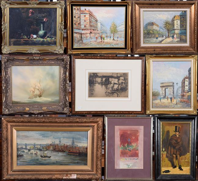 Lot 1035 - A collection of oils on canvas to include: city river views; French city views; marine oils;...