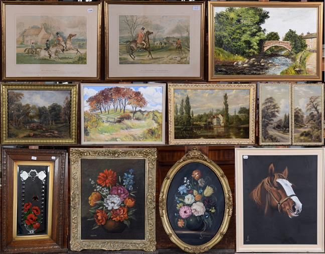 Lot 1036 - A mixed lot to include 19th / 20th century prints and oils, various subjects including still...