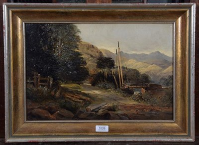 Lot 1039 - W Wilson (19th century English School), Boat at the dock, signed, oil on canvas, old Christies...