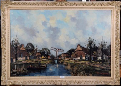 Lot 1046 - Toon Koster (20th century) Dutch Figure punting on canals Signed, oil on canvas, 59cm by 89.5cm