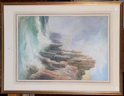 Lot 1048 - John Clarkson Uren (1845-1932), Rocky coastal view, signed, watercolour, 77cm by 54cm