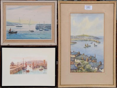 Lot 1051 - Prudence Turner oil, 29cm by 39cm (39cm by 49cm with the frame) and two watercolours by W Sands...