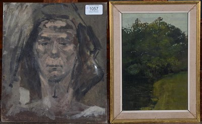 Lot 1057 - David George Fawcett AID FRSA (1935-1973), Wooded landscape, oil on board, together with a...
