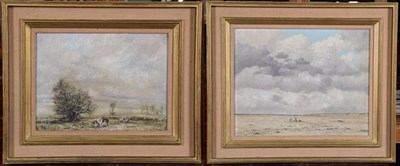 Lot 1063 - Nicholas Mace (b.1949), Beach landscape, signed, oil on board, 39cm by 49.5cm, together with a...