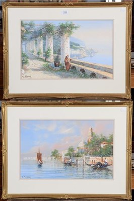 Lot 1068 - Y Gianni, an Italian coastal view, together with a view of Venice, signed, watercolours, 30cm...