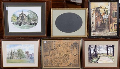 Lot 1069 - A collection of 20th/21st century prints and watercolours, landscape and townscapes, a reproduction