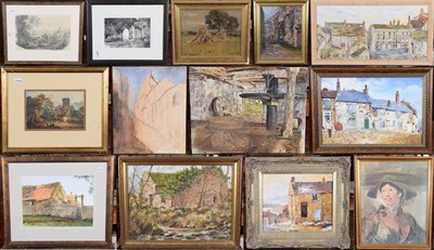 Lot 1070 - A large collection of local oil on board views to include: L W Hubbard including Wensleydale,...