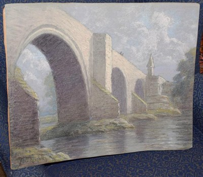 Lot 1071 - Alexander Keighley Hon FRPS (1861-1947) The Old Bridge Sterling Signed pastel, 50cm by 63cm...