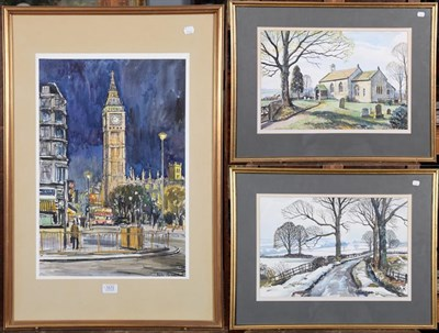 Lot 1072 - Walter Cecil Horsnell (British 1911-1997), London cityscape view of Big Ben, signed, mixed...