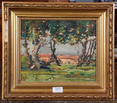 Lot 1073 - Donald G Midgley (20th century) Country landscape with cottages Signed, inscribed verso, oil on...
