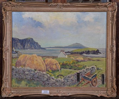 Lot 1074 - Deirdre Henty-Creer (1918-2012) Australian/British, Coastal view with cottage and a haycart,...