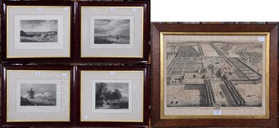Lot 1076 - After Johannes Kip (1653-1722) 'Brome Hall in the County of Suffolk', engraving, framed and glazed