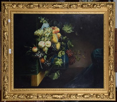 Lot 1078 - R Casper (Contemporary), Still life of fruit on a table, signed, oil on board, 75cm by 62cm