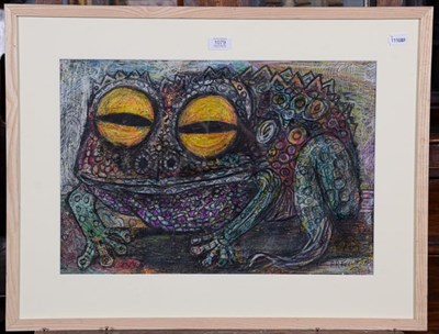 Lot 1079 - Peter Rex Tarrant (b.1943), Study of a toad, signed, mixed media, 37cm by 54cm