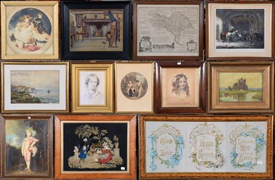 Lot 1080 - A large collection of 19th/20th century prints, watercolours, oils and photographs, various...