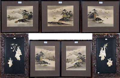 Lot 1081 - Five Japanese watercolour pictures with gilt highlights depicting river scenes and boats, two large